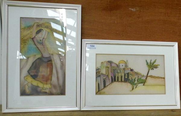2 hand painted on silk framed pictures