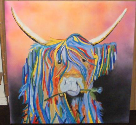 Hand painted Highland Cow acrylic on canvas picture approx 90x90 cm