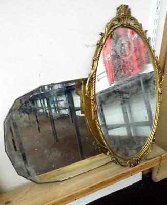 Two mirrors - one bevelled, one with gold frame