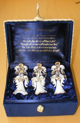 Cased set of six 'Life's Blessings' glass angels