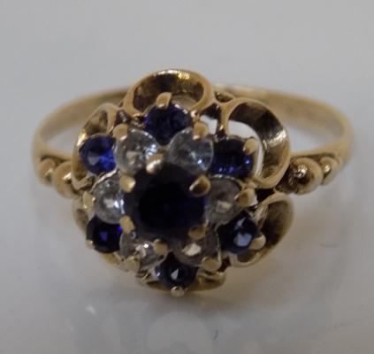 9ct gold sapphire dome ring, size L