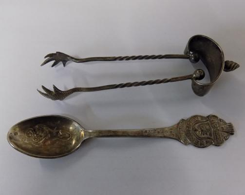 Silver hallmarked Birmingham 1904 sugar tongs, maker Oetzmann & Co. + Rolex Bucherer collectable spoon by jeweller Lucerine of Switzerland, stamped B100 12 (100 grams of silver used for 12 spoons)