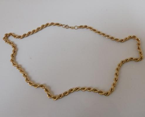 9ct gold rope chain 16.25 inches long