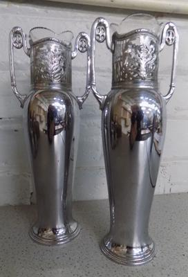 Pair of Art Nouveau WMF chrome vases with glass liners (slight damage to glass)