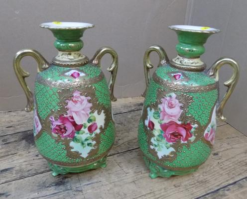 Pair of Victorian urns, floral design, chip to underside of rim on one
