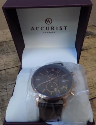 Accurist gold plated chronograph watch in box   with guarantee