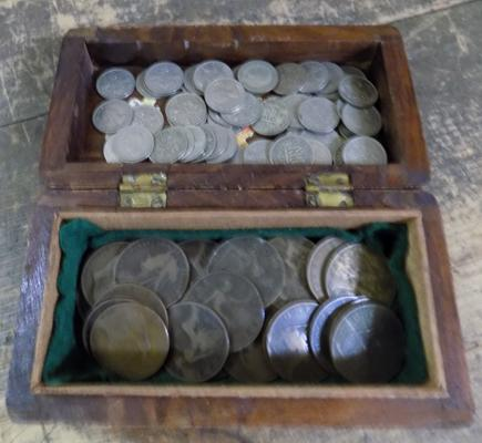Assortment of one penny coins (1897-1967) and sixpences (1919-1967)