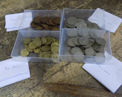 Assortment of Shillings; 2 Shillings, half pennies and three penny bits