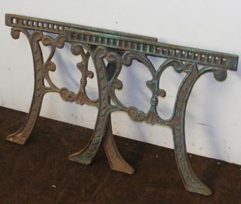 Pair of cast garden table ends