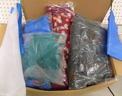 Box of assorted bags