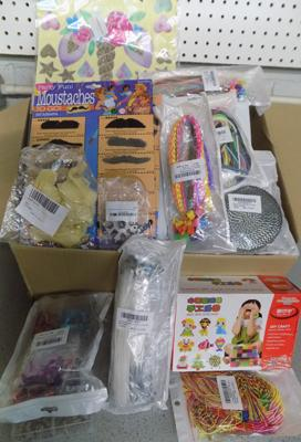 Box of assorted crafting products