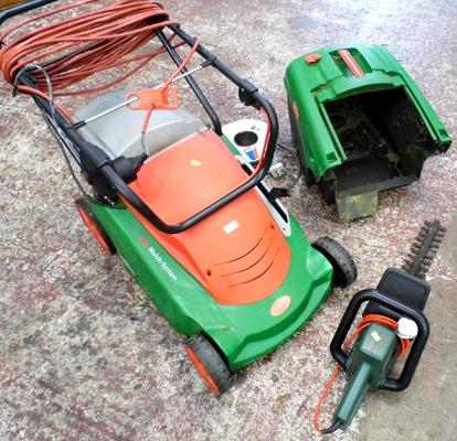 Brill electric lawnmower with mulch system & extension lead + Black & Decker hedge trimmer