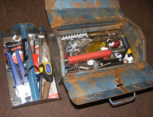 Mixed tool box with insert & collection of tools