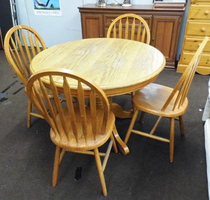 Solid wooden circular table & four chairs
