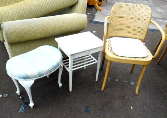Dressing table stool, small table & chair
