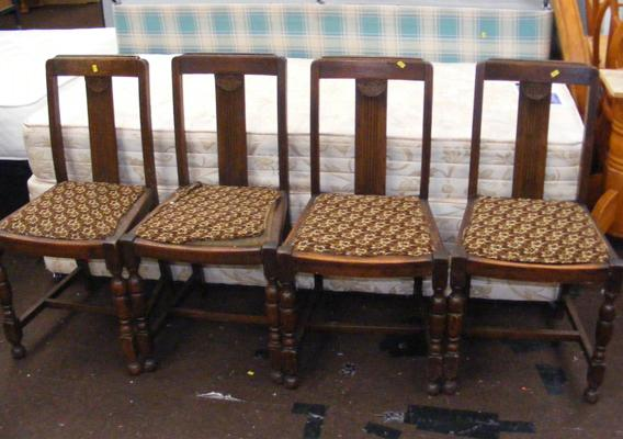 4x Vintage Oak dining chairs