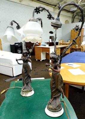 Resin cast on marble base, twin desk lamps x 2