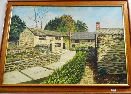 Framed picture of courtyard by John R. Brook