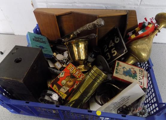 Collection of vintage items & collectables - camera, treen, hallmarked silver, lighters, jewellery etc...