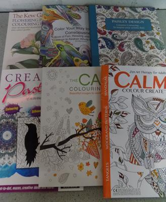 Selection of adult colouring books, as new, x 9
