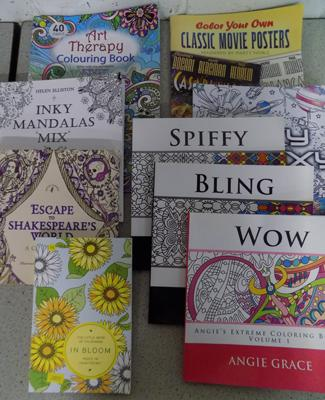 Selection of adult colouring books - as new, x 6