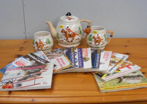 Three piece tea-set (hunting design) and collection of Brooke Bond albums