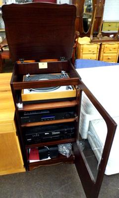 Hi-Fi cabinet with Goldring deck, Cambridge audio amp & Sony CD player + tuner etc...