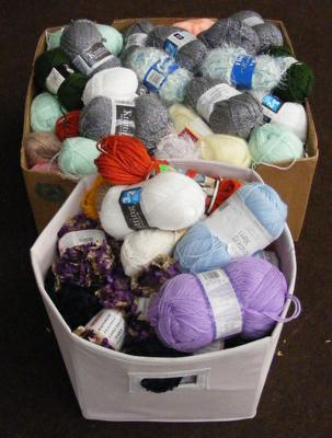 2x Boxes of yarn and wool