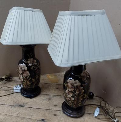 Pair of painted vintage lamps