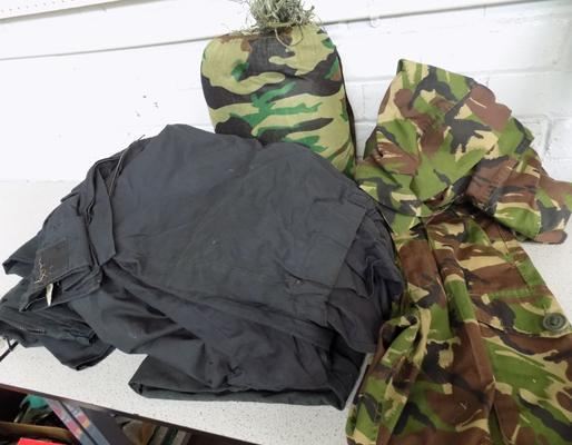 Genuine 'Gilly Suit' with army and police clothing/ uniforms