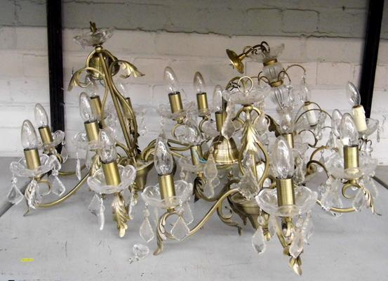 Three ornate glass chandeliers - brushed metal finish