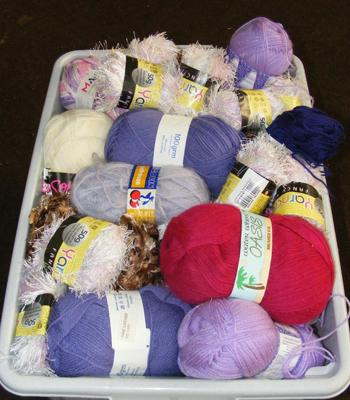 Large box of wool and yarn