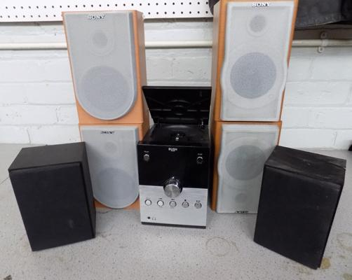Bush CD player, speakers and 4 Sony speakers