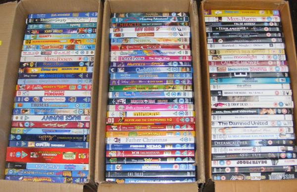 3x Boxes of DVDs - mainly kids etc.