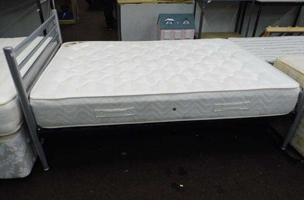 Metal framed double bed & mattress