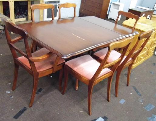 Drop leaf table & six mahogany coloured chairs