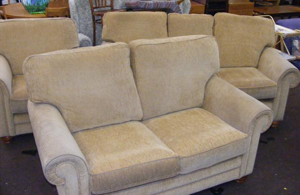 Three seater & two seater settee with armchair