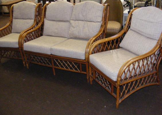Two seater cane framed settee & 2 matching chairs