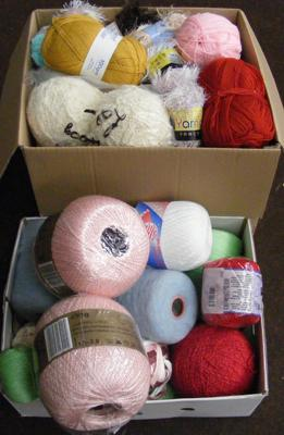 2x Boxes of wool and yarn