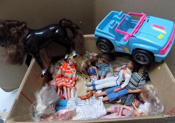 Box of vintage dolls, Barbie jeep, horse