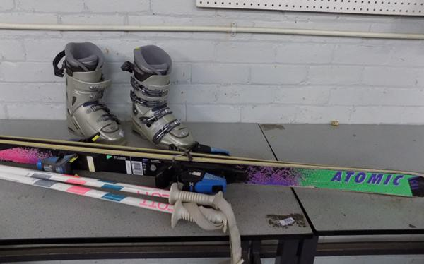 Pair of Ski boots, Technica 9X Innotec with skis & poles