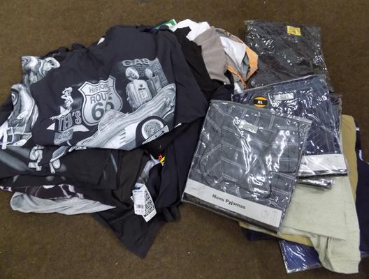 Box of new t-shirts and gents clothing