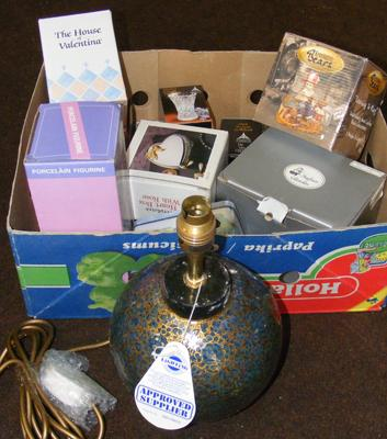 Selection of boxed ornaments etc.