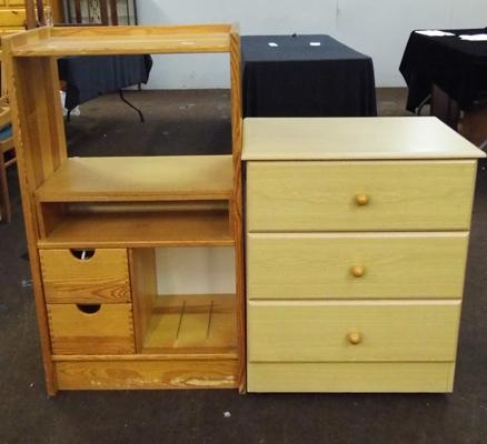 Pine storage unit & pine coloured set of drawers