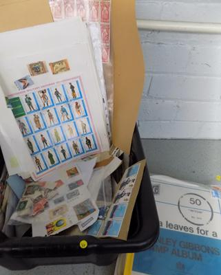 Black box of loose stamps, folder of sheets of stamps & folder of extra leaves