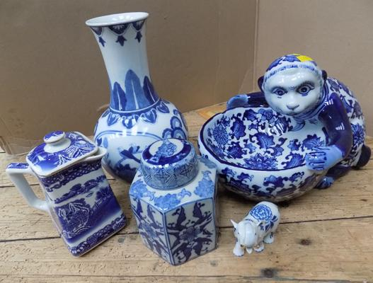 Selection of blue and white ceramics