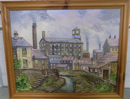 John Corcoran 'Watts Mill' Burnley, oil on canvas