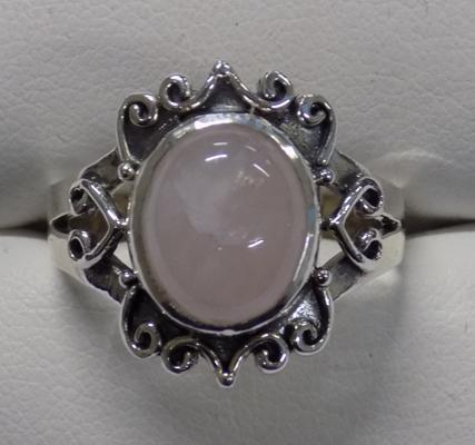 Silver and pink quartz ring