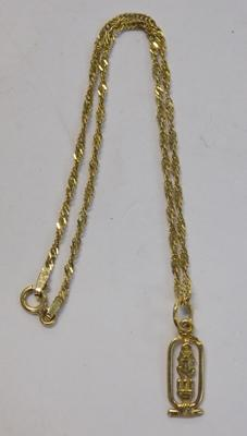 9ct gold bracelet with Egyptian pendant
