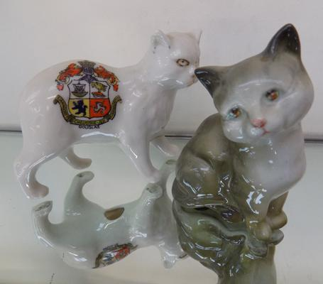 Beswick cat & one other (with repaired left leg)